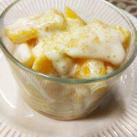 Pesche con gelato di crema